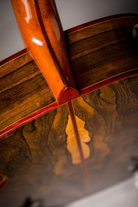 french polished ziricote guitar back with laminated neck padauk binding insight