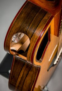 side sound port laminated braces ziricote back and sides handmade steelstring guitar padauk binding abalone