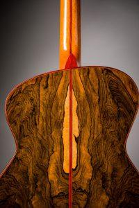ziricote asymmetric handmade guitar back padauk binding satinwood veneer sapwood french polished